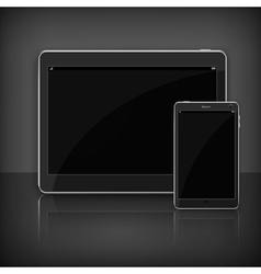 Realistic modern tablet on black vector image vector image