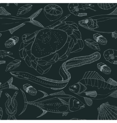 Sea life doodle in lines vector