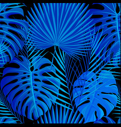 seamless pattern with tropical exotic palm leaves vector image vector image