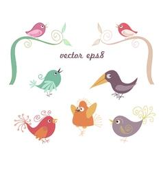 Singing cute bird vector
