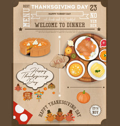 Thanksgiving dinner menu card vector