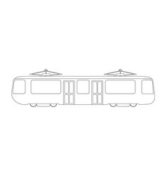 Tram flat icon and logo outline vector