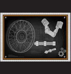 two pistons on blackboard vector image vector image