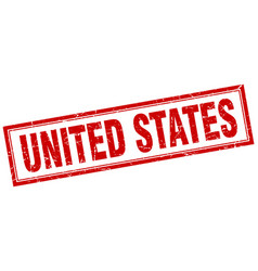 United states red square grunge stamp on white vector