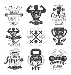 Vintage gym fitness stamp collection vector