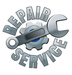 Wrench and gear repair service emblem vector