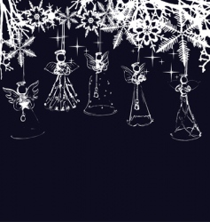 angels Christmas tree decoration vector image