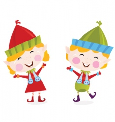 Christmas boy and girl elves vector image