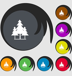 christmas tree icon sign Symbols on eight colored vector image