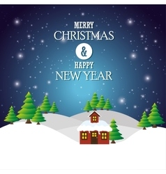greeting merry christmas happy new year house vector image