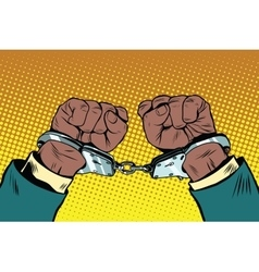 Hands up African American in handcuffs vector image