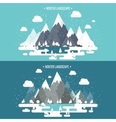 Mountains in winter peak with snow nature vector