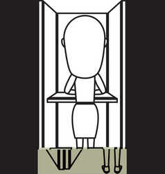 Person voting in cubicle vector