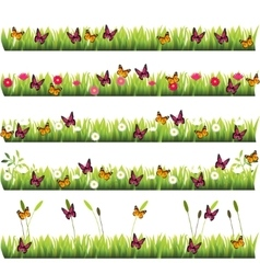 Grass with flowers vector
