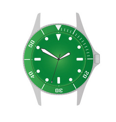 Simple modern sport divers style green watch case vector