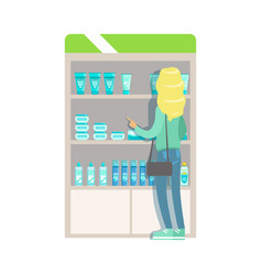 blond woman in pharmacy choosing and buying drugs vector image