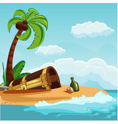 treasure chest buried on the beach vector image