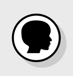 people head sign  flat black icon in white vector image