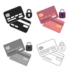 Credit card security icon in cartoon style vector