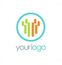 Round line business logo vector