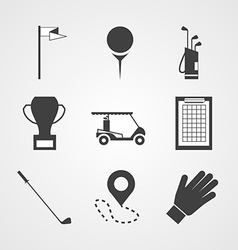 Black icons for golf vector image