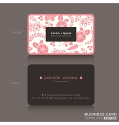 Cute business card pink floral pattern background vector