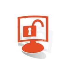 Unlocked monitor sticker orange vector