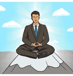Businessman meditation cartoon pop art style vector