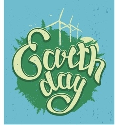 April 22 earth day green earth and wind energy vector