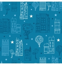 Denim blue town houses trees streets vector