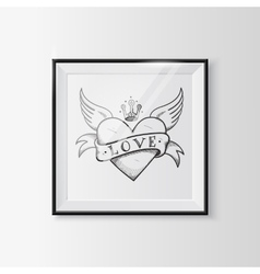 Heart with wings sketch in a frame vector