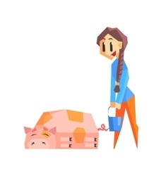 Girl feeding pig vector