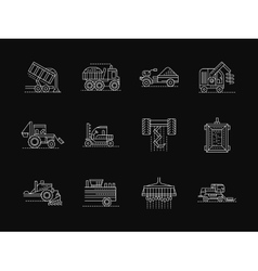 Agronomy machines white flat line icons vector
