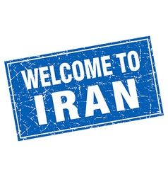 Iran blue square grunge welcome to stamp vector