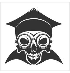 Skull academic in graduation cap vector