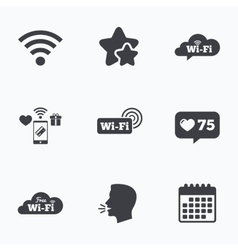 Wifi wireless network icons wi-fi speech bubble vector