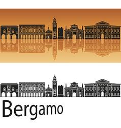 Bergamo skyline in orange background vector