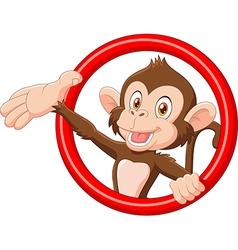 Cartoon funny monkey presenting vector image