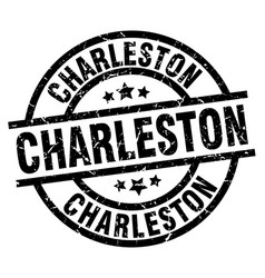 Charleston black round grunge stamp vector
