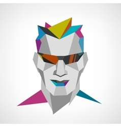 Conceptual polygonal face of a man with sunglasses vector image vector image