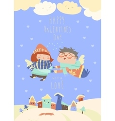 Cute couple of angels flying above the houses vector