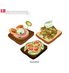 Delicious smorrebrod the national dish of denmark vector