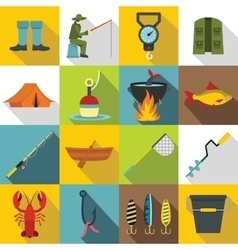 Fishing tools icons set flat style vector