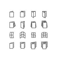 Folded icons set vector