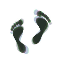 Foot prints sign colorful icon shaked vector