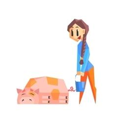 Girl feeding pig vector