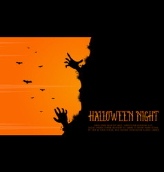 halloween background with zombie landscape vector image vector image