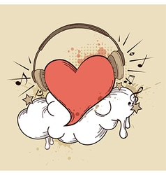 headphones heart vector image vector image