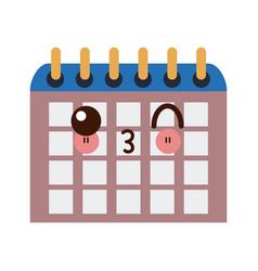 Kawaii school calendar on new year for study vector