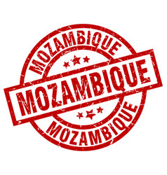 Mozambique red round grunge stamp vector